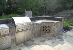 Patio Built In Grill Constructed with Belgard Provincal Stone