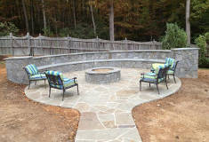 Patio with Firepit and Built In Seating Featuring RSSY Pennsylvania Irregular Flagstones or Stand-Ups