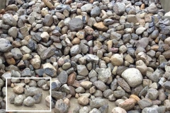 Our River Jack gravels are nominally sized, meaning, typical sizes run 3 to 5 inches representing a middle/average size. There will be some within that size range, that are smaller, and some larger than the nominal size.Delaware Quarries River Jacks are not produced to any ASTM standard, as we sell our product as decorative landscape stone only.  For this example lets use the 3 to 5 inch River Jacks.  The screens are made up of squares, so in the instance of 3 to 5 inch, there is a possibility of a stone up to 7 inch plus, in one dimension if the stone, clearing the screen, if it hits the screen diagonally. This sizes only one dimension of the stone and the other dimension will vary, sometime greatly. In a load of our nominally sized 3 to 5 inch River Jacks, a small percentage may be smaller or larger due to the nature of quarrying and loading.  This process results in our nominally sized River Jacks.