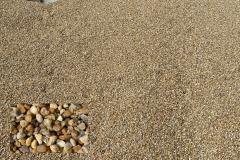 "(Pea Gravel ""VA"") ¼"" to 3/8"" Chesapeake Washed Gravel popular decorative stone."